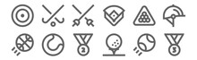 Set Of 12 Sports Icons. Outlin...
