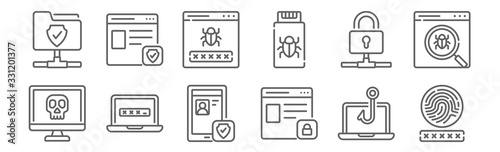 Fotografía set of 12 data protection icons