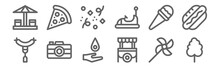 Set Of 12 Fair Icons. Outline ...