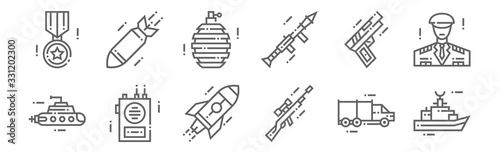 Fototapeta set of 12 military icons