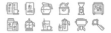 Set Of 12 Coffee Icons. Outlin...