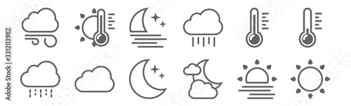Fototapeta set of 12 weather icons. outline thin line icons such as sun, cloudy night, cloud, heat, moon, heat obraz