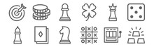 Set Of 12 Casino Icons. Outlin...