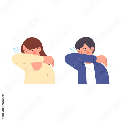 Leinwand Poster male and female illustration characters when sneezing trying to cover their mout