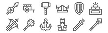 Set Of 12 Medieval Items Icons...