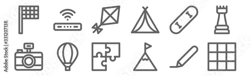 set of 12 free time icons. outline thin line icons such as cube, climbing, hot air balloon, skate, kite, router #331207138