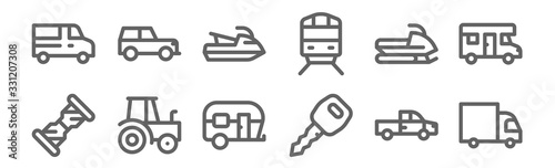 Obraz set of 12 vehicles and transport icons. outline thin line icons such as truck, car key, tractor, snowmobile, jetski, jeep - fototapety do salonu