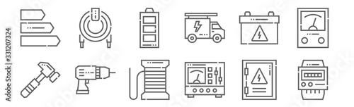 set of 12 electrician tools and icons Wallpaper Mural
