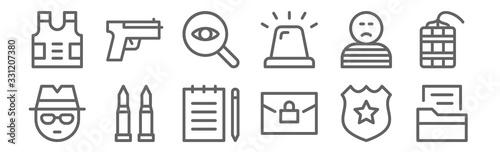 set of 12 crime icons Fotobehang