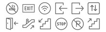 Set Of 12 Sign Icons. Outline ...