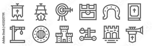 set of 12 medieval items icons Fototapete