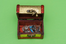 Small Wooden Jewelry Box On A ...
