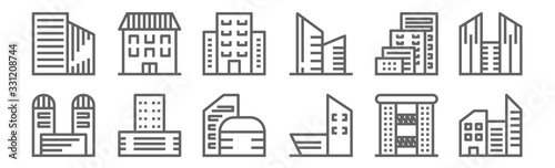 Fototapeta set of 12 building architecture icons. outline thin line icons such as residence, office block, office block, apartment, apartment, mansion obraz