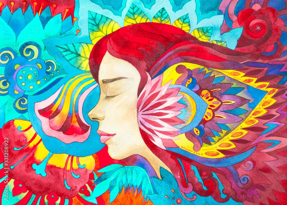 Dipinto acquerello yoga meditazione. Risveglio spirituale