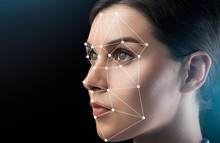 Beautiful Woman With Scanning Grid On Her Face Against Black Background, Space For Text. Panorama