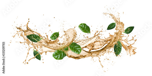 Obraz tea wave splashing with tea leaves, isolated on white. - fototapety do salonu
