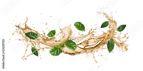 Fototapeta tea wave splashing with tea leaves, isolated on white. obraz
