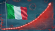 Coronavirus COVID-19 in Italy cases growing Concept with the national flag.