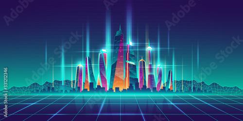 Fototapeta Future metropolis virtual model cartoon vector obraz