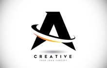 Letter A Swoosh Logo With Crea...