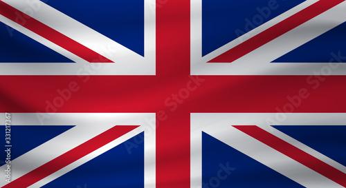 Waving flag of United Kingdom. Vector illustration