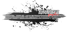 Tire Track, Vector Illustration, Grunge. Text Of Course Separated.