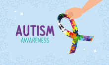 World Autism Day With Hand And Ribbon Of Puzzle Pieces Vector Illustration Design