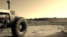 Front Of Tractor On The Farm