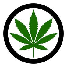 Cannabis Leaf With Stem And Ci...