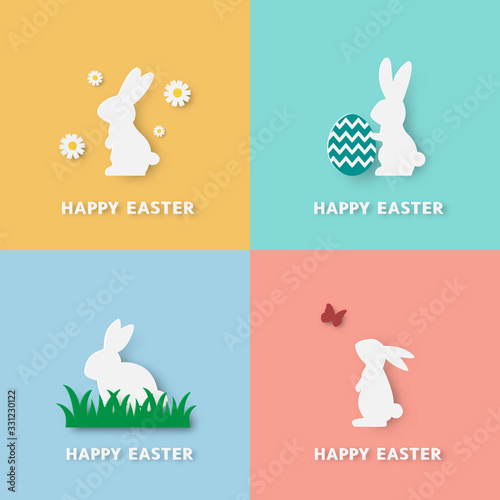 Happy easter paper cut style set of four white bunny that look cute