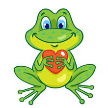 Funny Little Frog With A Red Heart In His Hands. In Cartoon Style. Isolated On White Background. Vector Illustration.