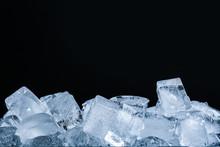Ice Cubes On Black Background,...