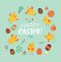 Easter Card With Birds And Flo...