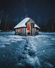 Hut In Snow