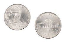 American Nickel Isolated On Wh...