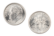 American Dime Isolated On Whit...