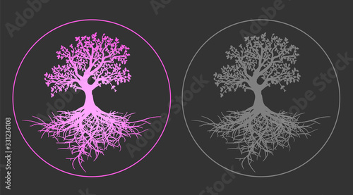 Beautiful set of life tree set pink gradient and gray tree silhouette with roots Wallpaper Mural