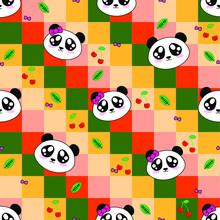 Cute Panda Seamless Pattern, A...