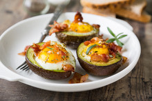 Baked Avocado With Egg And Bacon
