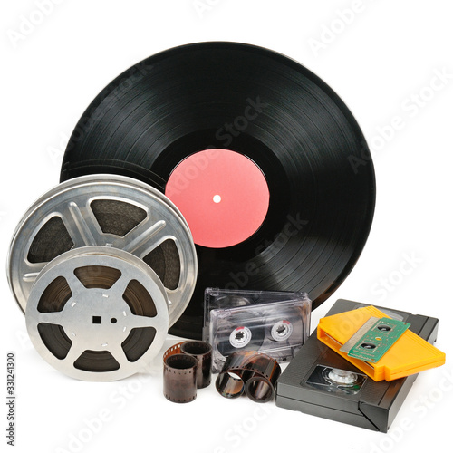 Vinyl record, video and audio cassettes isolated on white background Canvas Print