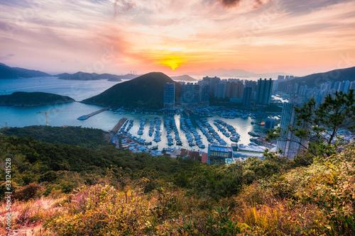 Aberdeen Typhoon Shelter, Hong Kong seen from Nam Long Shan Brick Hill, in Sunse Canvas Print