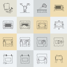 Hand Paper Making Process Icon...