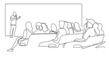 People Sit Cinema Hall Back Rear View Looking At Screen Continuous One Line Drawing. Hand Drawn Audience Cinema, Theater Vector Silhouette. Crowd Of People In The Auditorium  Contour Illustration.