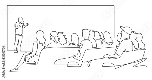 Fotografia People sit cinema hall back rear view looking at screen continuous one line drawing