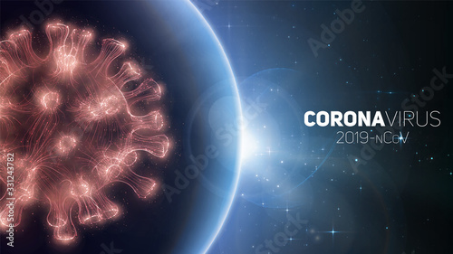 Concept of worldwide Coronavirus pandemia. Warning of virus global outbreak. Virus structure on a planet Earth background with stars. International infectione. Vector illustration.