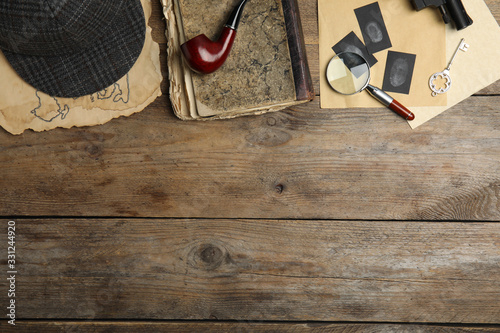 Composition with different vintage items on wooden background, space for text Slika na platnu