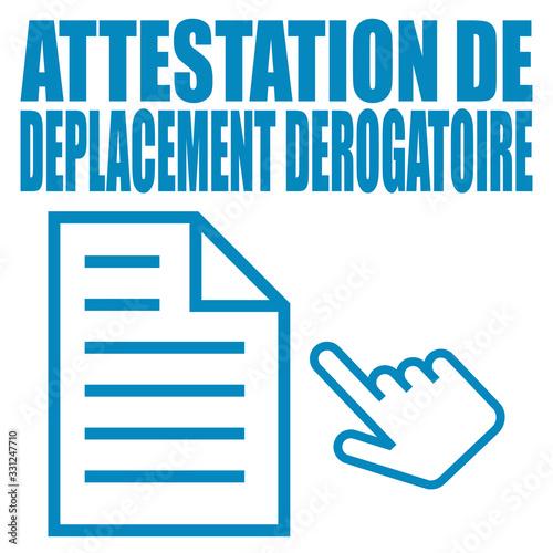 Logo attestation de déplacement dérogatoire. Canvas Print