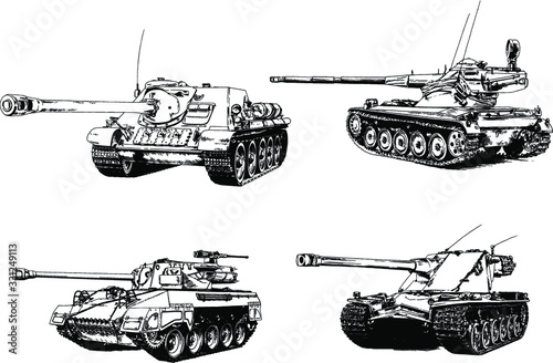 powerful tank with a gun drawn in ink freehand sketch Canvas Print