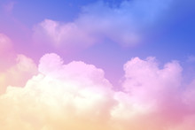 Beauty Soft Pastel With Fluffy Clouds On Sky. Multi Color Rainbow Image