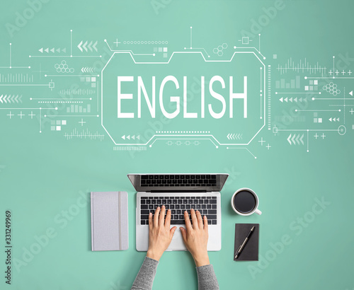 Obraz English concept with person using a laptop - fototapety do salonu